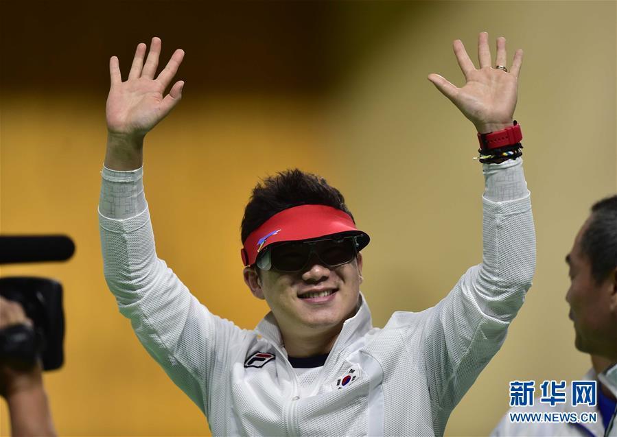 (裏約奧運會·奪冠一刻)(1)射擊——男子50米手槍:韓國選手秦鐘午奪冠