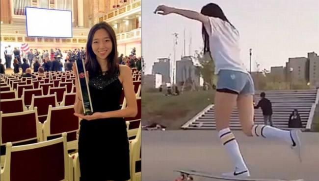 韓女子在滑板上熱舞