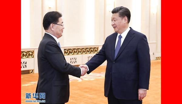 習近平會見韓國總統特使鄭義溶