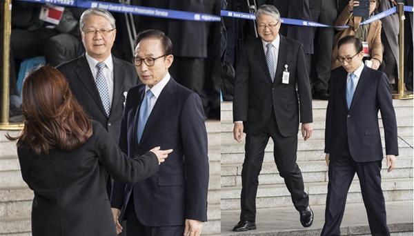 韓國前總統李明博因涉嫌貪腐和濫用職權等接受檢方訊問