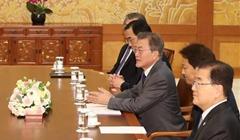 韓國總統文在寅會見朝鮮高級別代表團