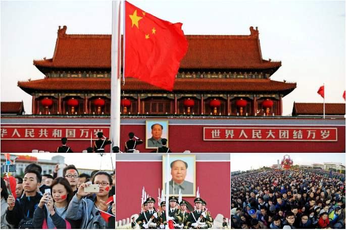中 톈안먼 광장서 국기 계양식 보며 국경절 맞이
