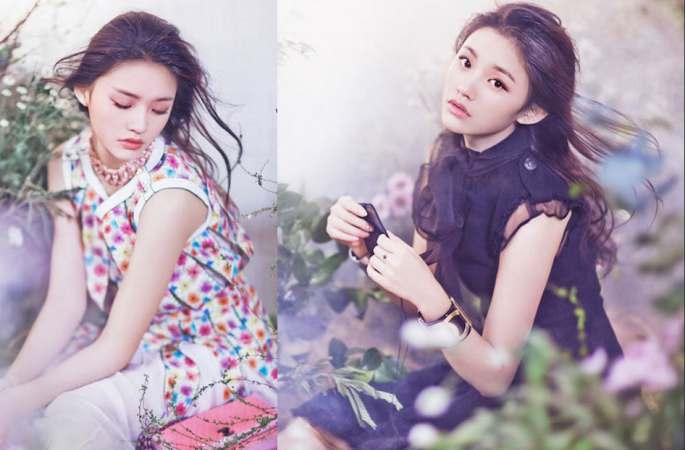 린윤(林允) 새봄 화보 첫 공개, 꽃바다속에서 천사 같아