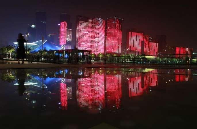항저우 화려한 등불로 G20 맞이