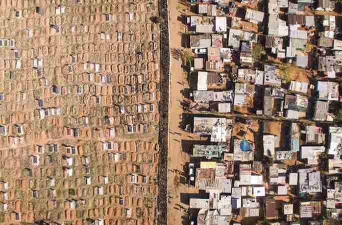 하늘에서 본 남아프리카의 '부촌&빈촌', 양극화 심각