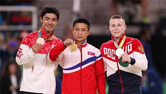 朝鮮選手奪體操跳馬金牌