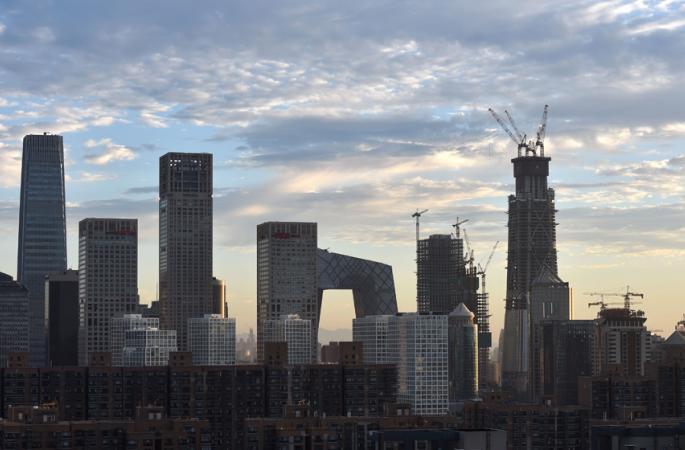베이징 차오양CBD 핵심구역에 건설 중인 '중국존' 베이징 최고 높이 빌딩