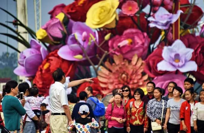 꽃으로 장식된 베이징 창안제