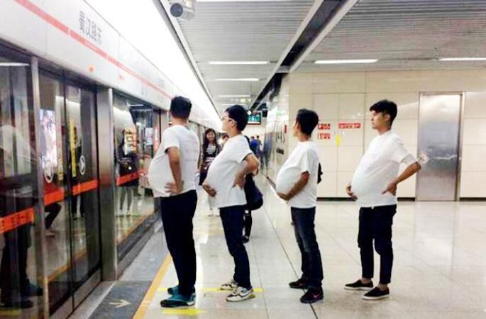 청두 지하철에 등장한 '임신男'들, 임신부 배려 호소