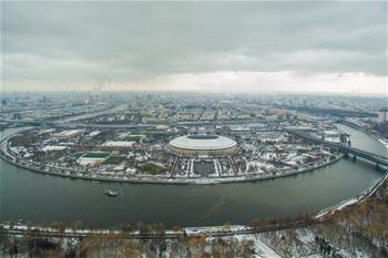 하늘에서 굽어본 겨울의 모스크바