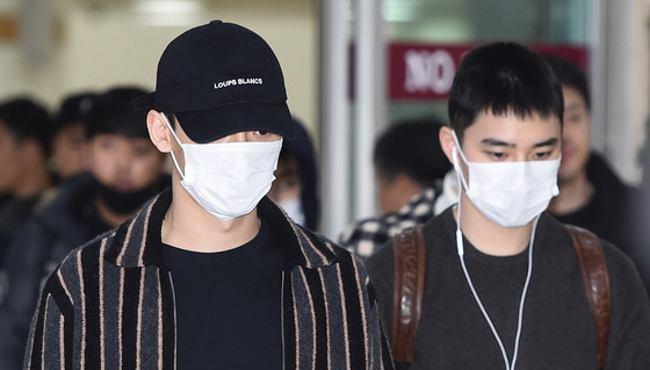 EXO圆满结束日本演唱会返韩 全员口罩遮面现身机场【组图】