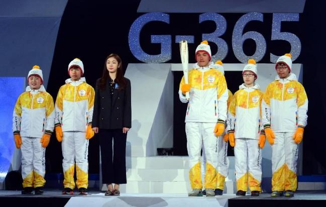 韓國舉行平昌冬奧會倒計時一周年慶祝活動(組圖)